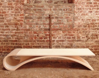 Curvy coffee table, Plywood coffee table, Coffee table