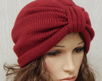 Womens turban, knitted turban hat, full turban hat, handmade gift for women, red turban beanie, elegant winter hats, CHOOSE COLOUR and SIZE
