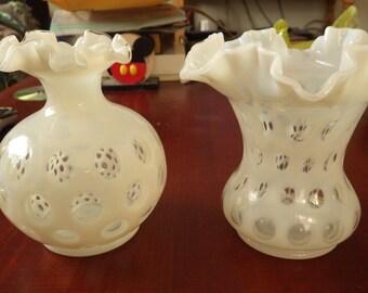 2 Fenton white opalscent coin dot fluted vase