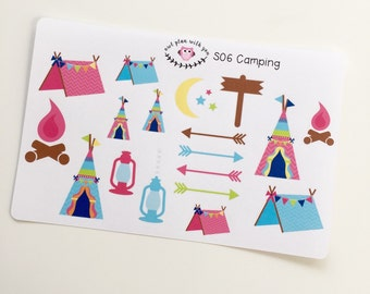 S06 || 21 Camping Stickers