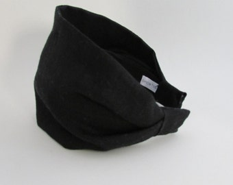 Black Linen Extra Wide Headband