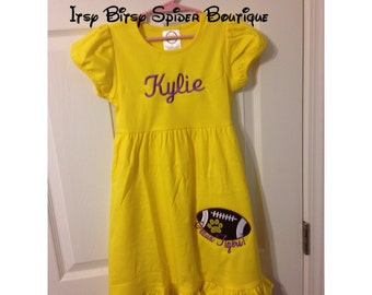 High quality girls Louisiana LSU geaux tigers vibrant yellow dress with ruffles ~ perfect for LSU game day !