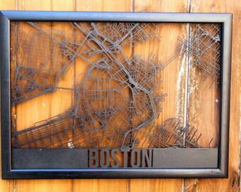 Boston Laser Cut Street Maps Wooden Map