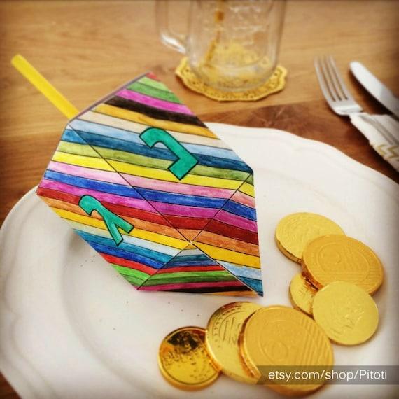 Hanukkah Dreidel Paper Craft for kids, printable Dreidel template to ...
