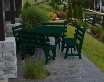 Pine 43 Inch Square Table with 4 Detached Backed Benches - Painted OR Stained - 18 Color Options - Amish Made in the USA