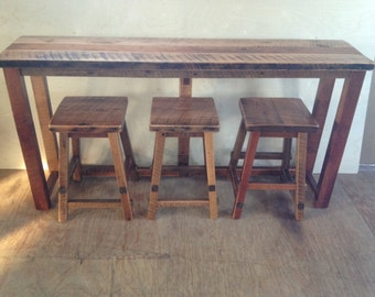 Rustic Reclaimed Barn Wood Furniture - Breakfast Bar Only - 2 Sizes Available - Handmade - Custom - Amish Made in USA