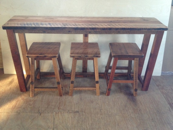 Rustic Reclaimed Barn Wood Furniture Breakfast Bar With 3