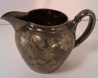 Antique Meriden Silver Co. Silver Plated Etched Pitcher