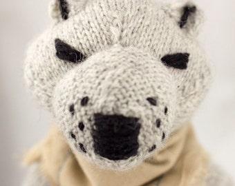 Arctic Wolf Knit Wool Doll