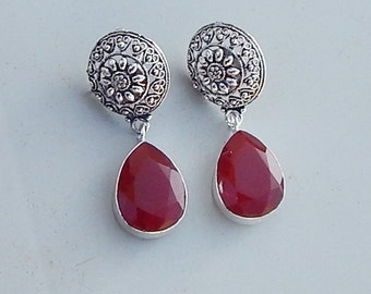 Handmade Pear Faceted Red Quartz Gemstone 925 silver Earrings Jewelry, Artisan Unique Gift Jewelry