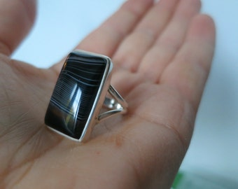 Black onyx ring, size 9US, set in 92.5 sterling silver, free shipping
