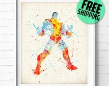 X-Men, Colossus, Marvel Superhero, Poster, Watercolor Painting, Home Decor, Wall Art Print, Kids Gift, Nursery Decor, Baby Room Decor, 319
