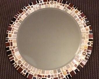 Brown and Cream Circular Mosaic Wall Mirror 40cm Bathroom, Hall, Living Room