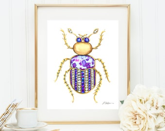 Bug Brooch Watercolor Rendering in Yellow Gold with Diamonds, Tanzanite and Jasper printed on Paper