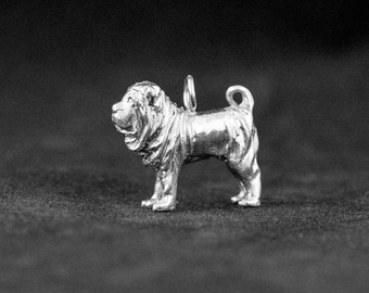 Sterling Silver Chinese Shar Pei Charm, Silver Chinese Shar Pei Pendant