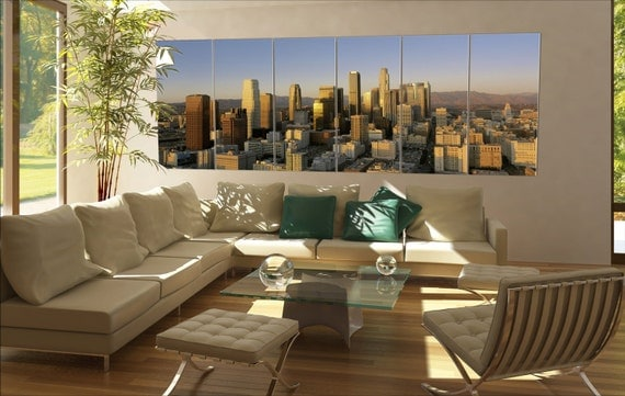 6 panels / boards This is a view of the Los Angeles skyline at sunset Large panorama panoramic canvas wall art art