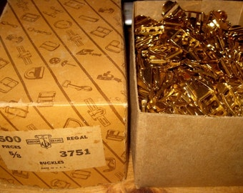 Old Factory Stock, Full Box of Brass Buckles, APX. 500 Pieces