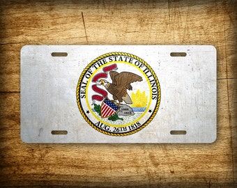 Illinois State Flag License Plate IL Official Flag Symbol Auto Tag 6x12 Aluminum Metal Sign