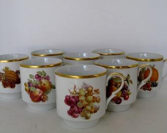 Bavarian Porcelain Mugs, Set of 8
