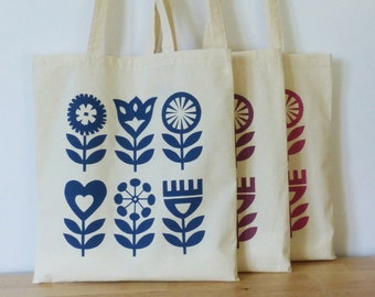 Tote Bag Scandinavian Flower Swedish Retro 60s 70s Screen Print Shopping Book Bag Modern Folk Art
