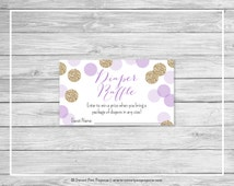 Purple and Gold Baby Shower Diaper Raffle Insert - Printable Baby Shower Diaper Raffle Cards - Purple and Gold Glitter Baby Shower - SP109