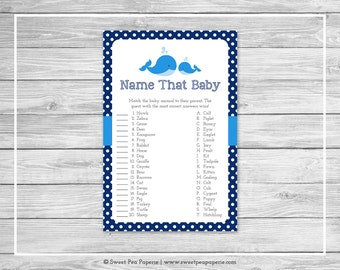 Whale Baby Shower Name That Baby Game - Printable Baby Shower Name That Baby Game - Blue Whale Baby Shower - Name That Baby Game - SP127