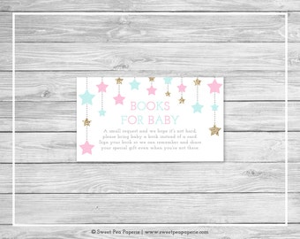 Twinkle Little Star Gender Reveal Book Instead of Card Insert - Printable Gender Reveal Books for Baby - Pink Aqua Gold Gender Reveal- SP139