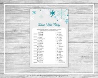 Winter Wonderland Baby Shower Name That Baby Game - Printable Baby Shower Name That Baby Game - Winter Wonderland Baby Shower - SP114