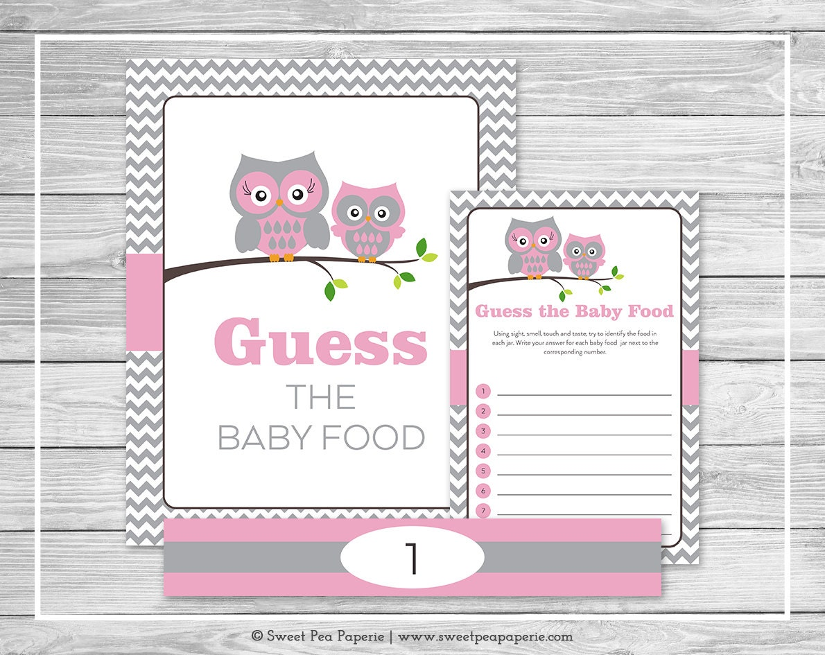 owl baby shower guess the baby food game printable baby