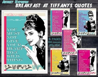 Breakfast at Tiffanys party, Audrey Hepburn quote, Audrey Hepburn art, printable wall art, poster, decorations, birthday, movie quotes