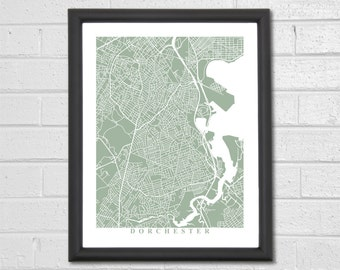 Dorchester Map Art - Map Print - Massachusetts - Map Print - Home Map - Custom Map - Anniversary - City Map - Housewarming Gift Travel Gift
