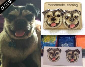 CUSTOM PET EARRINGS Dog Cat Animal Custom Earrings Stud Earrings Post Custom Jewelry Custom Accessories Custom Gift Idea Custom Jewelry
