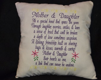 Mothers Day, Gifts for Mom, Throw Pillow, Embroidered Pillow, Home Decor, Mothers Day Poems, Mothers and Daughters
