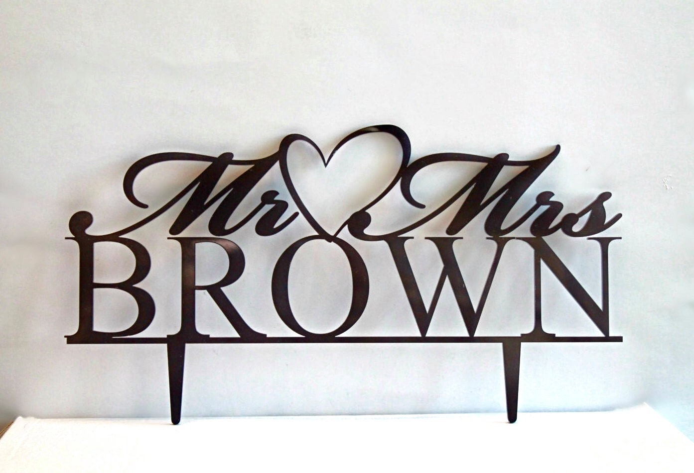 Wedding Cake Toppers Mr And Mrs Personalized Heart Acrylic Rustic Last Name Custom Wooden Topper Monogram Decorations