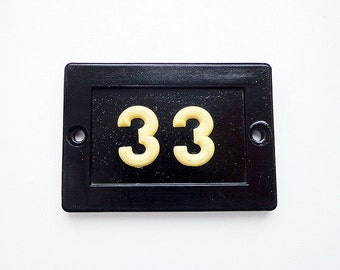Vintage door number 33, soviet plastic room number thirty-three