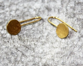 Hammered Gold Earring, Gold Circle Earrings, Simple Hammered Gold Dangle Earrings, Simple Circle Textured Gold Earrings, Bride Gold Earrings