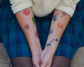 10 Temporary Tattoos with Watercolor Flowers and Animals by Natasha Tsozik