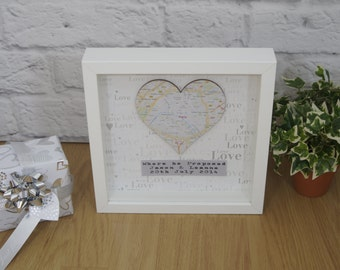 Personalised Map Gift Framed Engagement Wedding Present First Anniversary Home Free P&P