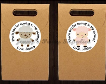 Set of 12 Lamb Favor Stickers, Lamb Goodie Bag Stickers, Sheep Stickers, Baby Shower Lamb Stickers