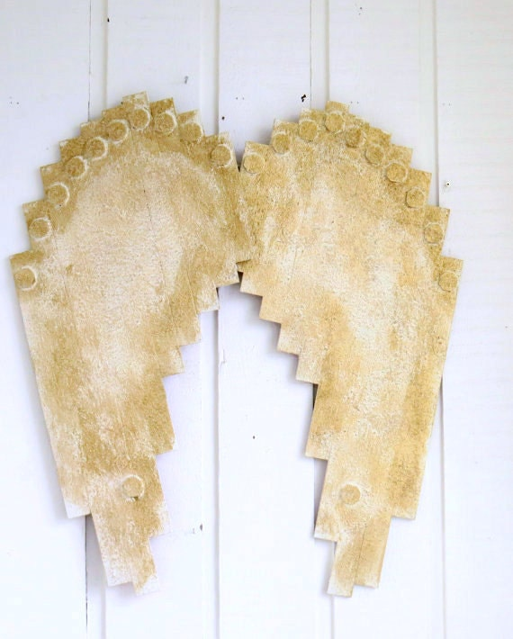 Rustic Angel Wings Wall Decor : Wooden angel wings rustic wing decor wall shabby