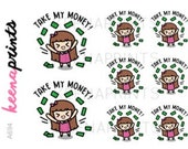 A694 | TAKE MY Money Keenachi Repositionable stickers Perfect for Erin Condren Life Planner, Filofax, Plum Paper & other planner scrapboo