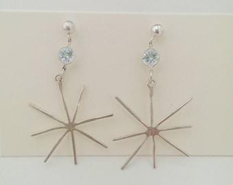 Star earrings! With blue topaz