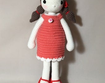 Doll with Coral Dress-Free Shipping!