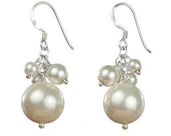 Pearl Cluster Earrings, Sterling Silver Earrings, Bridal Earrings, Wedding Earrings, Dangly White Pearl Earrings, Pearl Drop Earrings