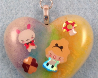 Alice and White Rabbit Resin Hear Keychain