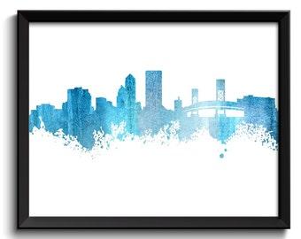 Jacksonville Skyline Steel Blue Grey Watercolor Painting Jacksonville Florida Cityscape Jacksonville Wall Art Print Jacksonville Poster