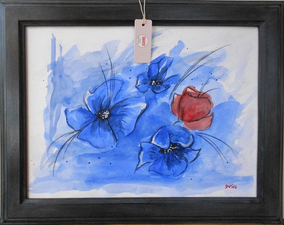 Watercolor painting, abstract painting, flower painting, abstraction flowers, custom art, personalized watercolor-lonely poppy