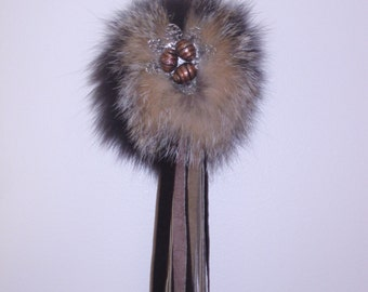 Keychain in recycled fur, charm for purse
