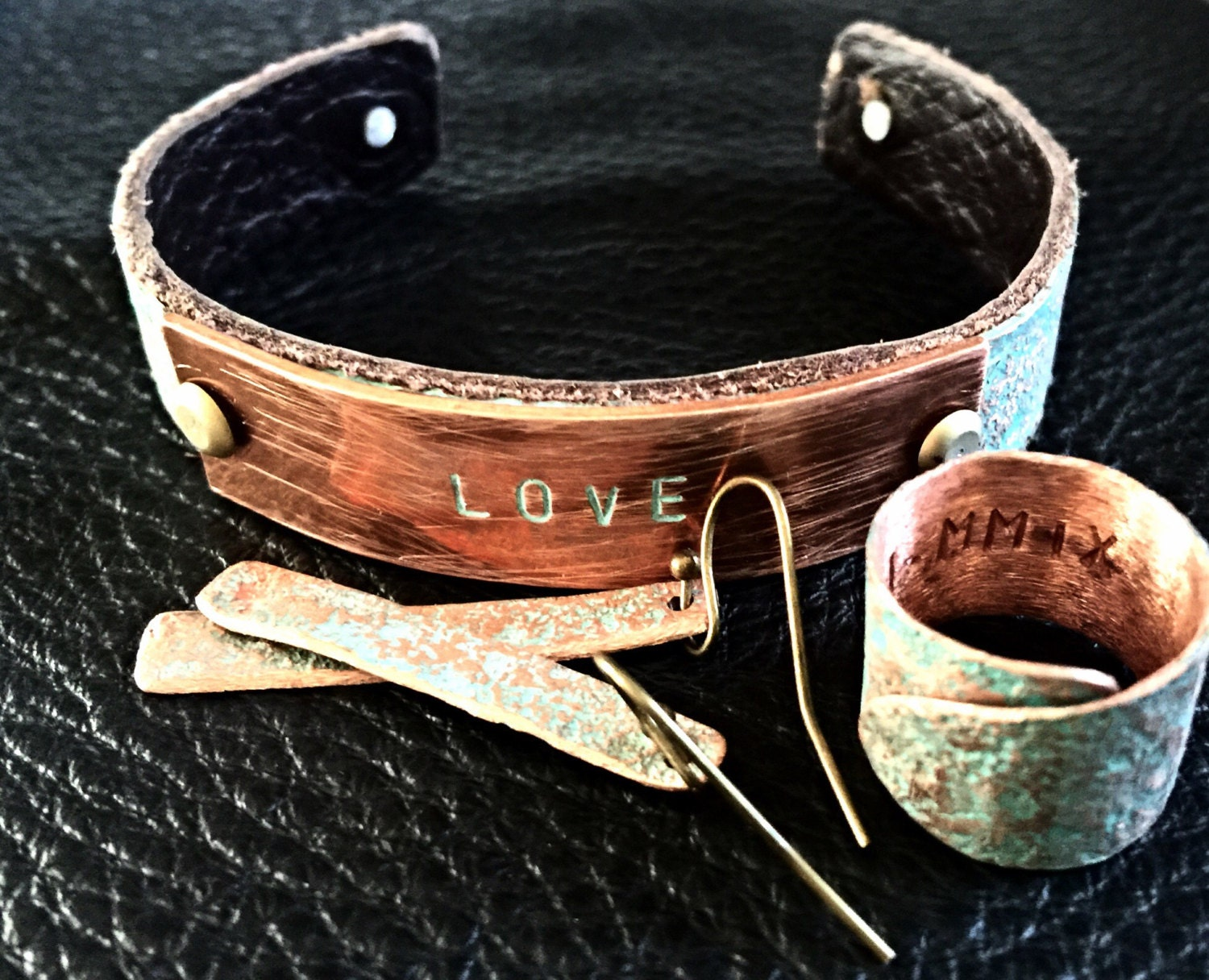 Personalized copper anniversary gift set jewelry