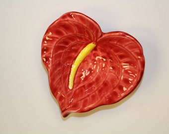 Red Anthurium Ceramic FlowerDish, Made in Hawaii, Food Safe